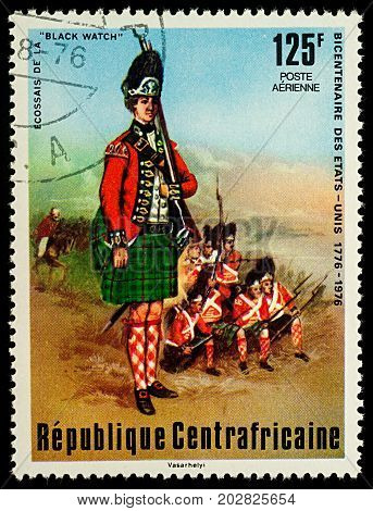 Moscow Russia - September 05 2017: A stamp printed in Central African Empire shows Scots of the