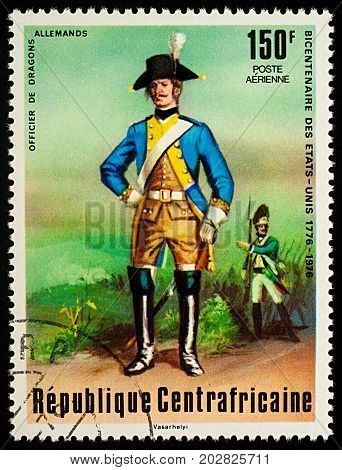 Moscow Russia - September 05 2017: A stamp printed in Central African Empire shows Officer of German Dragoons series