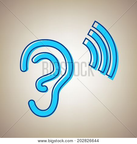 Human anatomy. Ear sign with soundwave. Vector. Sky blue icon with defected blue contour on beige background.