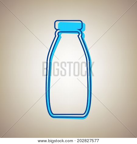 Milk bottle sign. Vector. Sky blue icon with defected blue contour on beige background.