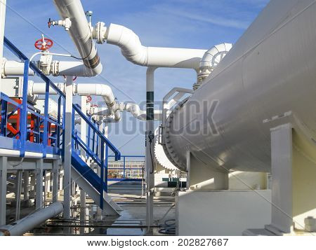 Heat Exchangers In A Refinery. Heated Gasoline Air Cooler. The E