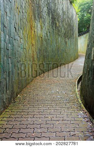 Stone Walk Way In Tunnel At Fort Canning Park, Singapore