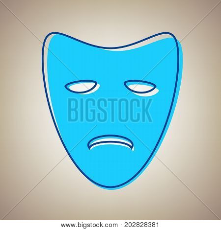 Tragedy theatrical masks. Vector. Sky blue icon with defected blue contour on beige background.