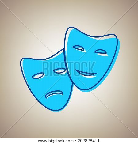 Theater icon with happy and sad masks. Vector. Sky blue icon with defected blue contour on beige background.