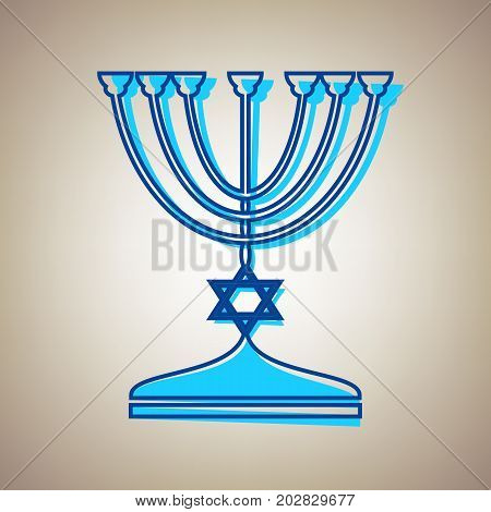 Jewish Menorah candlestick in black silhouette. Vector. Sky blue icon with defected blue contour on beige background.