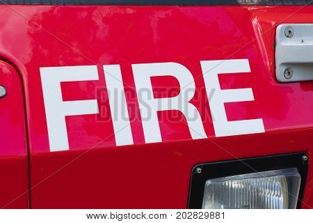 Sydney, Australia - May 11, 2017: Close-up view of the word fire on a fire brigade