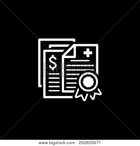 Health Insurance Policy Icon. Flat Design. Isolated Illustration. Several documents necessary to obtain insurance. Insurance policy with a wax seal.