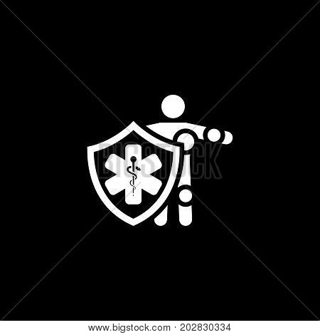 Life Insurance Icon. Flat Design. Isolated Illustration. Man standing behind the shield with star of life.