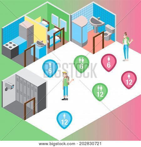 Vector design concept with isometric 3d hostel or hotel rooms and travelers illustrations