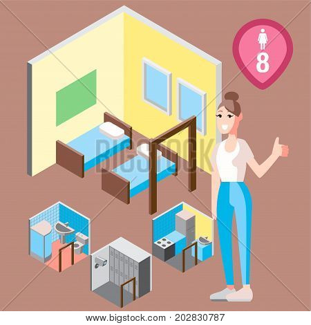 Vector design concept with isometric 3d hostel or hotel rooms illustration for women