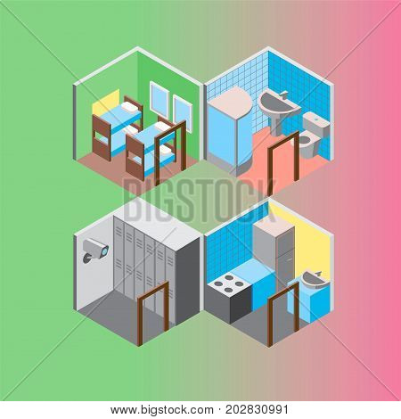 Vector design concept with isometric 3d hostel or hotel rooms illustrations set
