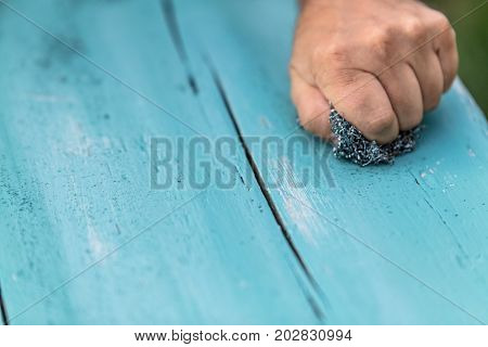 Wooden Planks With Chalky Paint
