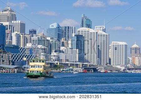Sydney, Australia - May 11, 2017: Ferry at Darling Harbour in Sydney. It is a popular travel destination adjacent to city centre of Sydney.