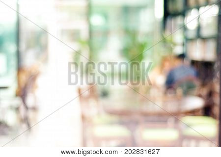 Blurred background : blur inside restaurant and people with bokeh light