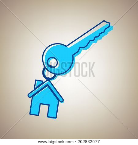 key with keychain as an house sign. Vector. Sky blue icon with defected blue contour on beige background.