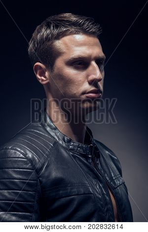 Head And Shoulders Shot, One Young Adult Man Caucasian, Black Background, Studio, Head Headshot Face