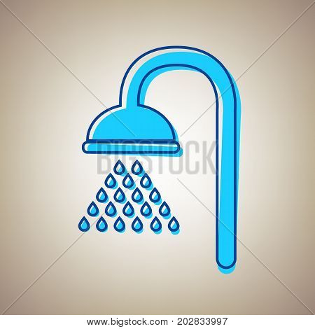 Shower sign. Vector. Sky blue icon with defected blue contour on beige background.