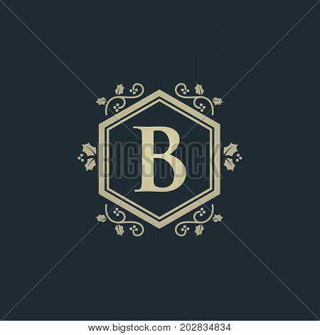 Vintage old style logo icon monogram. Letter B logo. Royal hotel, Premium boutique, Fashion logo, Super logo, VIP logo. B letter logo, Premium quality logo, Lawyer logo.letter B, logo icon eps8,eps10
