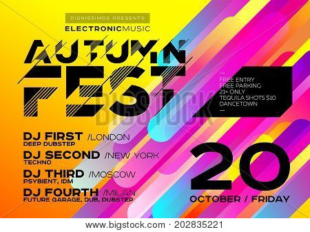 Bright Autumn Electronic Music Poster for Festival or DJ Party. Concept of Minimal Art Design for Event Club Flyer Invitation Poster Banner. Colorful Yellow Background with Gradient.