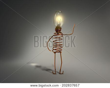 A quirky light globe robot with an illuminated head, raises one arm upward in a friendly gesture. The picture is reflective of quirkiness, ideas, geek culture, technology, electronics, light, computers, electricity, friendliness, intelligence, thinking