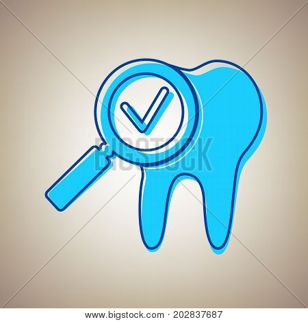 Tooth icon with arrow sign. Vector. Sky blue icon with defected blue contour on beige background.