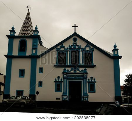 Exterior view to Sanctuary of Our Lady of Conception church at Angra do Heroismo Terceira Portugal