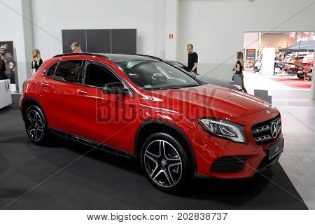 CRACOW POLAND - MAY 20 2017: Mercedes GLA displayed at MOTO SHOW in Krakow. Poland. Exhibitors present most interesting aspects of the automotive industry