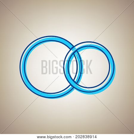 Wedding rings sign. Vector. Sky blue icon with defected blue contour on beige background.
