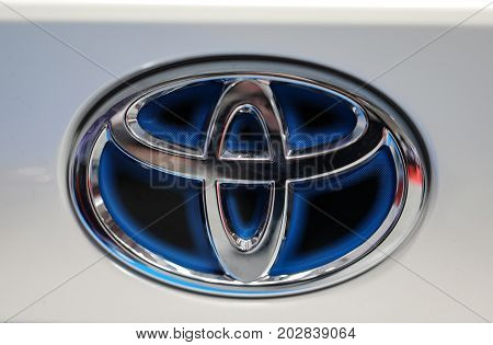 CRACOW POLAND - MAY 20 2017: Toyota metac logo closeup on the Toyota car displayed at 3rd edition of MOTO SHOW in Cracow Poland. Exhibitors present most interesting aspects of the automotive industry