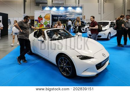 CRACOW, POLAND - MAY 20, 2017: Mazda MX-5 displayed at  MOTO SHOW in Cracow Poland. Exhibitors present  most interesting aspects of the automotive industry