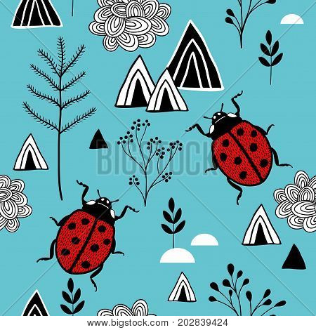 Scandinavian style pattern with red ladybugs in mountains. Vector endless background.