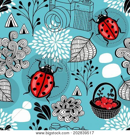 Autumn seamless pattern with bugs and berries in the basket. Vector illustration.