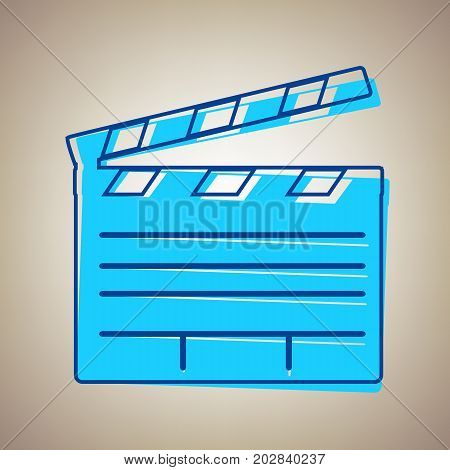 Film clap board cinema sign. Vector. Sky blue icon with defected blue contour on beige background.
