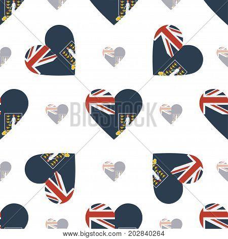 Virgin Islands, British Flag Patriotic Seamless Pattern. National Flag In The Shape Of Heart. Vector