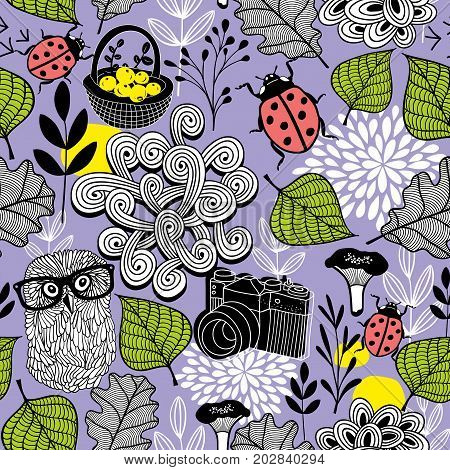 Seamless background of forest life. Owl and bugs vector illustration.