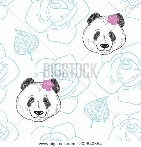 Seamless pattern with cute panda girls and roses. Vector illustration.
