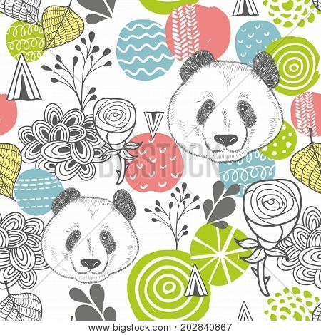 Seamless pattern with abstract design elements and heads of panda. Vector wallpaper.