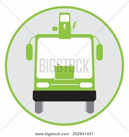 Icon Of Hybrid Bus Idea Isolated On White Background