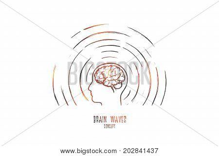 Brain waves concept. Hand drawn human head radiating waves. Brain study isolated vector illustration.