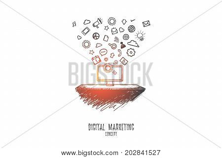 Digital marketing concept. Hand drawn business innovation technology set application icons. Digital marketing media technology isolated vector illustration.