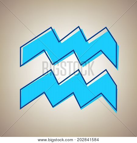 Aquarius sign illustration. Vector. Sky blue icon with defected blue contour on beige background.