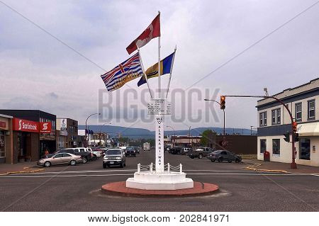 Dawson Creek, Canada, 2017.07.10: The «Mile 0 Post» marks the beginning of the Alaska Highway in Dawson Creek in Canada.