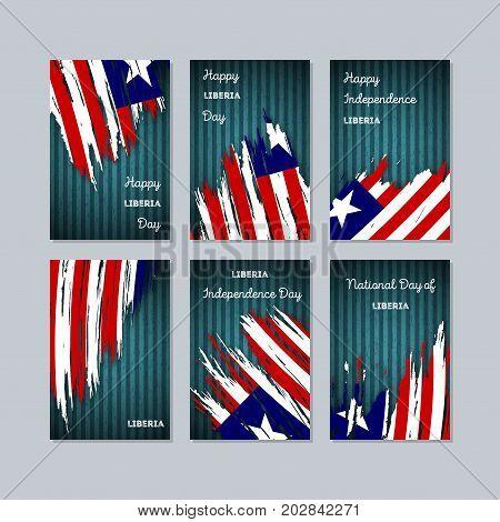 Liberia Patriotic Cards For National Day. Expressive Brush Stroke In National Flag Colors On Dark St