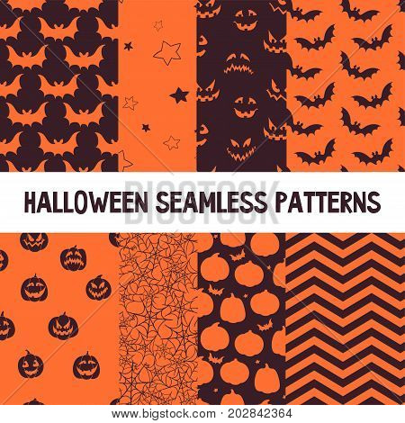 Halloween Orange and Black Jumbo Polka Dot, Gingham and Stripes Seamless Patterns. Perfect as Halloween or Thanksgiving Backgrounds.