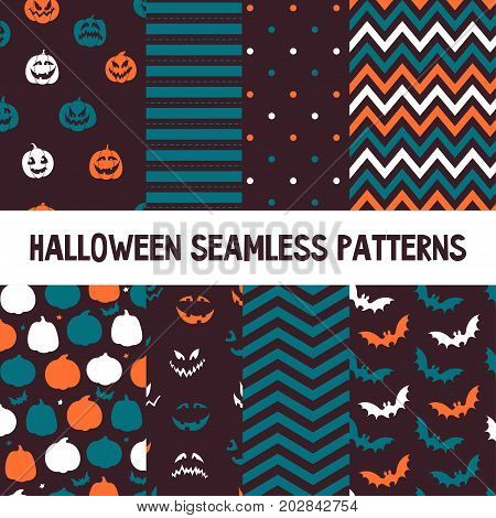 Halloween vector seamless patterns. Endless texture for wallpapers, web page background, wrapping paper. Flat style.