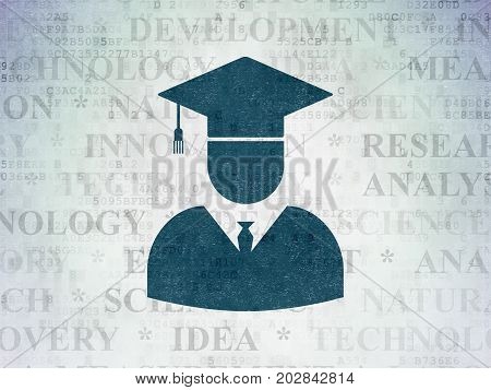 Science concept: Painted blue Student icon on Digital Data Paper background with  Tag Cloud