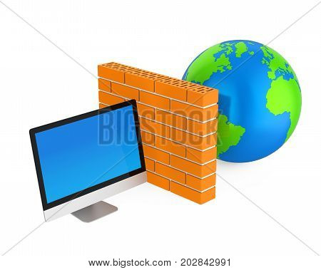 Computer Security Firewall Concept isolated on white background. 3D render