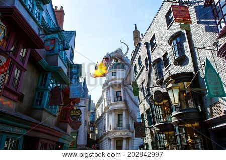 ORLANDO, FL-APRIL 19 2016: Part of Harry Potter world, home to Harry Potter and the Forbidden Journey attraction in Universal Studios park in Orlando USA