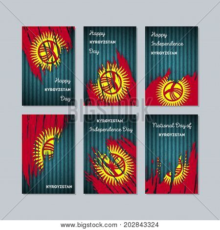 Kyrgyzstan Patriotic Cards For National Day. Expressive Brush Stroke In National Flag Colors On Dark