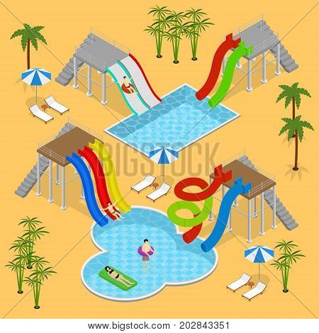 Aqua Park Concept with People and Equipment for Recreation Fun Leisure Isometric View. Vector illustration of Waterpark